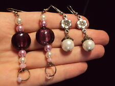 purple shimmer glass pink + white faux pearl flower dangle earrings 2 pair lot
