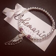 Silver & Amethyst angel wing bracelet gemstone jewellery boho gypsy stacking