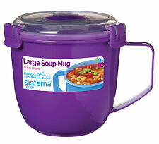Sistema Large Purple Klip It Microwave Soup To Go Mug 900ml Clip Lid Lunch Work