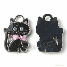 20x New Charms Multicolor Enemal Cats Pendants Fit Necklaces Bracelets 140952