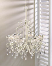 Shabby DAZZLING Chic BEADED Chandelier Shabby Ivory Candle Light