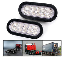 "2x 6"" Oval White 10 LED Reverse Backup Trailer Truck Light High Low Brightness"