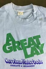 "True Vintage 80s Funny Innuendo ""A Great Lay"" Caroline Waterbeds Work T-Shirt L"