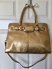 NEW MICHAEL KORS HAMILTON EMBOSSED GOLD PYTHON PURSE