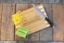 Custom Laser Engraved Bamboo Wood Cutting Board; Mr. & Mrs. Family name + date