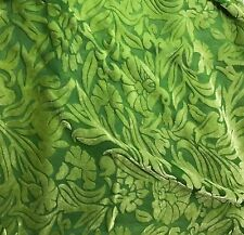 "Hand Dyed Burnout Silk VELVET Fabric APPLE GREEN FLORAL 54"" by the yard"