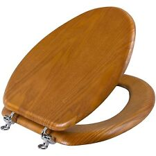 Wood Toilet Seat Medium Oak Toilet Seat  Elongated Bathroom Decorative Durable