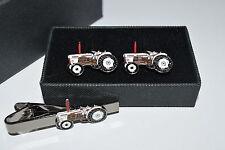 David Brown Tractor Cufflinks & Tie Clip Set Enamel Farming Wedding Tie White
