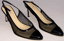 Kate Spade New York Black Mesh and Patent Leather Slingback Heels 8.5 M