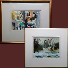 PAIR JOHN TOOKEY, ORIGINAL SIGNED IMPRESSIONIST PAINTINGS, WATERCOLOUR & OIL.