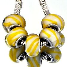 5Pcs GF Silver Lemon Crystal MURANO GLASS BEADS Fit European Lampwork Bracelet