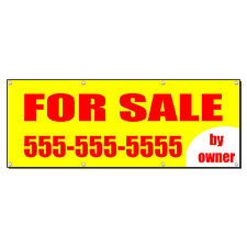 FOR SALE BY OWNER REAL ESTATE CUSTOM PHONE Banner Sign 4 ft x 2 ft /w 4 Grommets