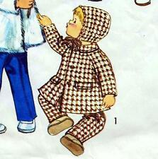 "Vintage 70s BABYS COAT Pants HOOD Sewing Pattern CHEST 21"" Girls & Boys TODDLERS"