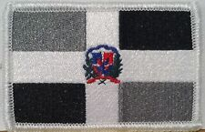 DOMINICAN REPUBLIC FLAG Embroidered Iron-On PATCH  EMBLEM GRAY & BLACK  #465