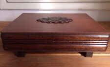 Vintage Art Nouveau LARGE Ox Blood Red Wooden Mahogany Footed Jewellery Box