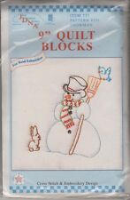 "1 Jack Dempsey ""Snowman"" Stamped Xstitch & Embroidery Quilt Blocks"