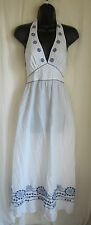 TOMMY BAHAMA White Blue Cotton Embroidered Maxi Sundress Boho Dress S Small