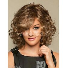 HOT New Charm Women's Brown Blonde Curly Natural Hair wigs Synthetic Wigs+gift