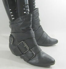 new shiekh blacks  flat  point toe sexy ankle boot side buckles size    7.5