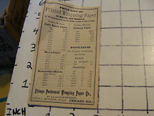 Vintage paper: 1800's PRINTED WRAPPING PAPER price list, white & manila CHICAGO