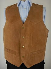 Vintage Mens Brown Leather Suede Western Rodeo Waistcoat Vest Size UK 44 Large a