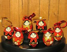 Russian Wood Doll Khokhloma Set 7 RED BLACK Matryoshka EGGS EASTER GIFT