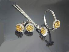 Diamant Ring Ohrstecker Anhänger 585 Weißgold gelbe weiße Brillanten im Set Neu