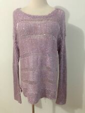 GUESS Sweater Knit Pullover Lilac w/Opalescent Shimmer Size L
