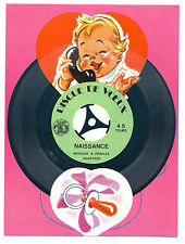 NEW BORN BABY MUSIC Gramophone Greeting Card RECORD 45RPM Vtg Postcard + cover