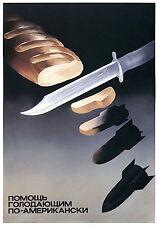 Vintage soviétique anti américains guerre froide A3 Poster Print