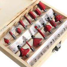 "15PCS DIY 1/4"" Shank Tungsten Carbide Router Bits Set Wooden Case Box Tool Kit"