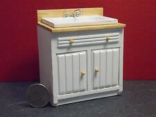 Dollhouse Miniature White & Oak Modern Kitchen Sink with cabinets  1:12   E52