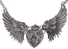 Vintage ANGEL WINGS Herz Flügel HEART Retro COLLIER Rockabilly