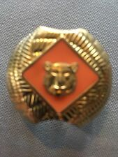 Boy Scout Neckerchief Slide Clip Tiger orange Scarf Metal Vintage