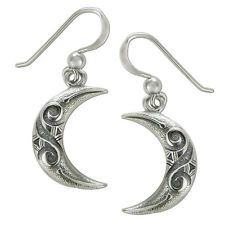 Sterling Silver Celtic Knot Spiral Crescent Moon Earrings Lunar Goddess Jewelry