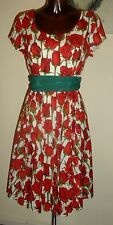 Glenys Redwood Red cream & green rose floral occasion dress size 12 14