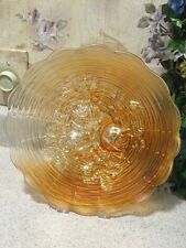 Rare Vintage Northwood Carnival Glass Rose Show PLATE in PUMPKIN MARIGOLD