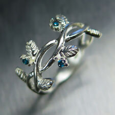 Natural blue diamonds 9ct or 375 white gold engagement ring nature organic plant