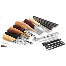 Leather Craft Punch Tool Kit Stitching Carving Working Sewing Saddle Groover NEW