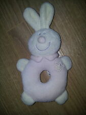 doudou jollybaby jolly baby lapin hochet couronne blanc et rose