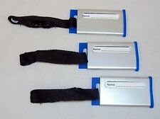 Luggage Tags ~ Set of 3, Aluminum & Blue Silicone, Webbing Strap, Buckle ~ LT510