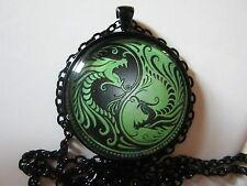 Dragons Yin Yang green and black gothic glass pendant necklace jewelry zen chain