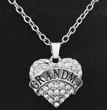 "GRANDMA Silver Crystal Heart Charm Necklace 18"" Grandmother Nana Mothers Day"