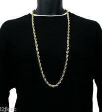 "14K Gold Plated Necklace Rope Chain 36"" Inch RUN DMC Dookie Big 9mm"