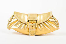 Celine Gold Metallic Buckle Flap Clutch