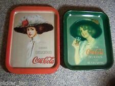 2) Coca Cola Woman / Lady Vintage Serving Trays Tray Both Square - w/Hangers