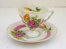 Vintage Unbranded Fine China Footed Hand Painted Pink Floral Tea Cup & Saucer