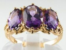 DIVINE HAND MADE 9K VICT INSP AMETHYST 3 ST 3.60CT RING
