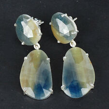 13.00 Gms Natural Bi Color Unheated Sapphire Earrings 925 Solid Sterling Silver