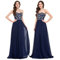 PLUS SIZE~ Long Chiffon Prom Evening Ball Gown Formal Navy Blue Bridesmaid Dress